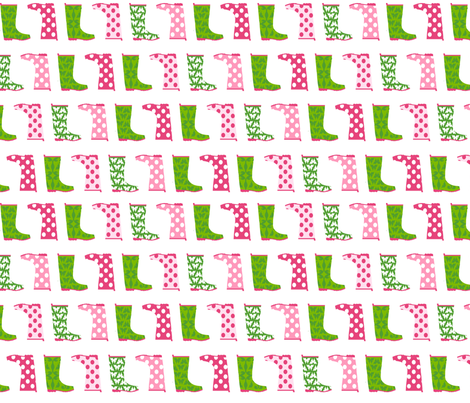 Jack and Jenny Rain Boots Pink Green fabric by lauriewisbrun on Spoonflower - custom fabric