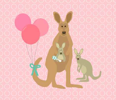 Kangaroo Baby Fat Quarter Pink Teal fabric by lauriewisbrun on Spoonflower - custom fabric