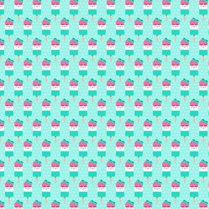 (micro scale) Cute Popsicles - pink on aqua polka dots C18BS