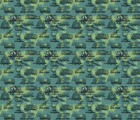 10 Critically Endangered with numbers over map fabric by sunflowerfields on Spoonflower - custom fabric