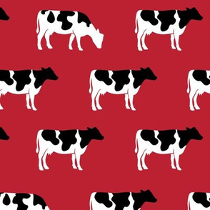 (med scale) cows on red - farm fabric C18BS