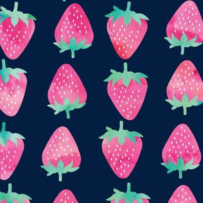 (large scale) strawberries - watercolor pink on navy  C18BS
