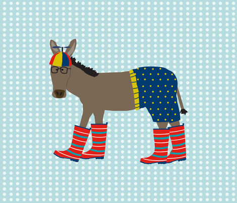 Donkey in Beanie Fat Quarter fabric by lauriewisbrun on Spoonflower - custom fabric