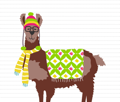 Spring Llama Pillow fabric by lauriewisbrun on Spoonflower - custom fabric