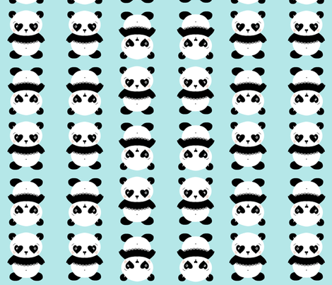 Panda love fabric by stacy_studios on Spoonflower - custom fabric