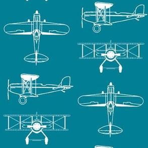 Biplanes on Teal // Large