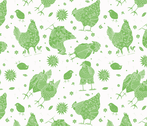 Whimsy Green Chickens fabric by kerrie_hubbard_studio on Spoonflower - custom fabric