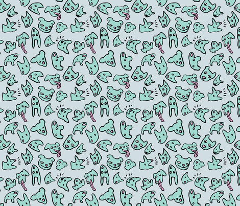 They're All Good Dogs - Aqua on Gray fabric by nicebutton on Spoonflower - custom fabric