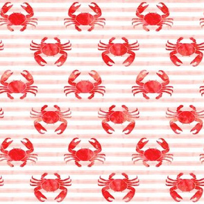 crabs - red on pink stripes - summer nautical watercolor fabric