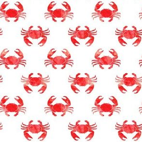 crabs - red - nautical summer beach fabric