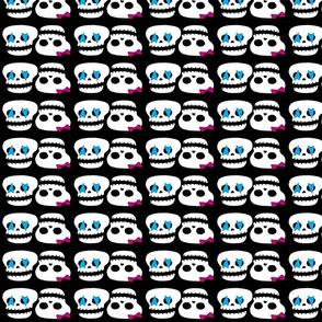 skater skull love blue