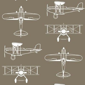Biplanes on Taupe // Large