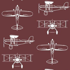 Biplanes on Tosca Red // Large