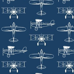Biplanes on Navy Blue // Small