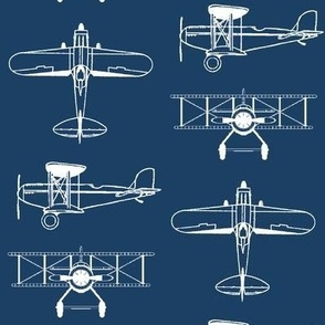 Biplanes on Navy Blue // Large