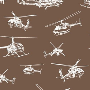 Helicopters on Tobacco Brown // Large