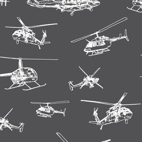Helicopters on Charcoal // Large