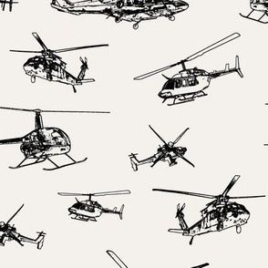 Helicopters on Off-white // Large