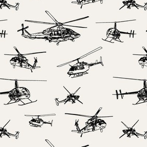 Helicopters on Off-white // Small