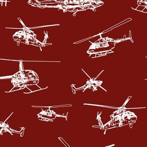 Helicopters on Maroon // Large