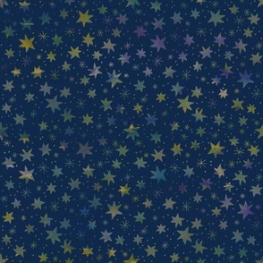 Watercolor Stars on Midnight Blue