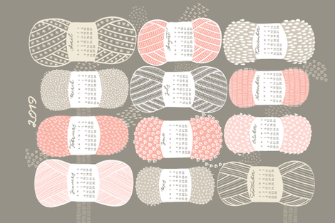 2019 Calendar, Sunday / Knit Your Dream fabric by marketa_stengl on Spoonflower - custom fabric