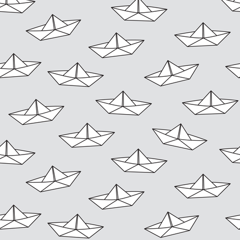 paper boats on grey fabric by heleenvanbuul on Spoonflower - custom fabric