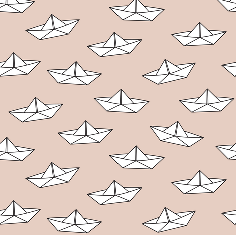 paper boats on brown fabric by heleenvanbuul on Spoonflower - custom fabric