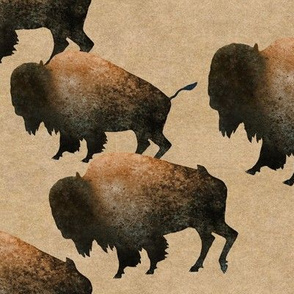 Bison Herd with Tan Background