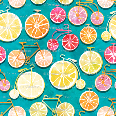 Juicy ride //  blue background multicoloured lemons oranges and bikes