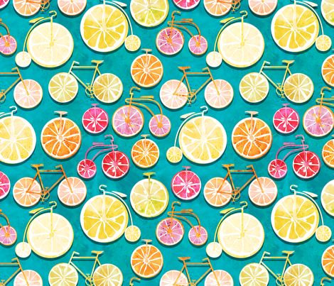Juicy ride //  blue background multicoloured lemons oranges and bikes fabric by selmacardoso on Spoonflower - custom fabric