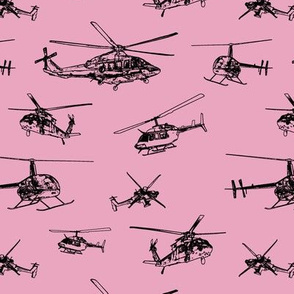 Helicopters on Pink // Small