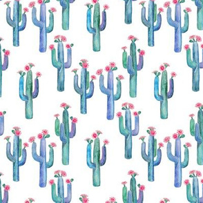 Little Watercolor Saguaro Cacti with Pink Flowers