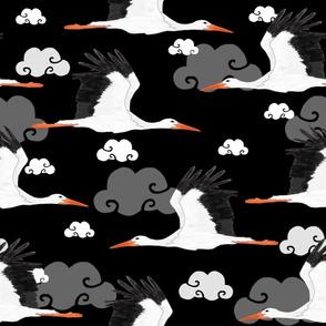 Stork Pattern Black
