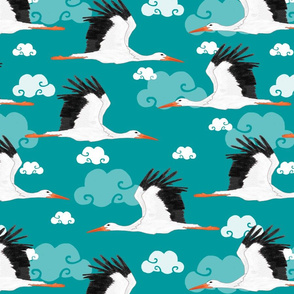 Stork Pattern Turquoise