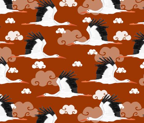 Stork Pattern Orange fabric by lydia_meiying on Spoonflower - custom fabric