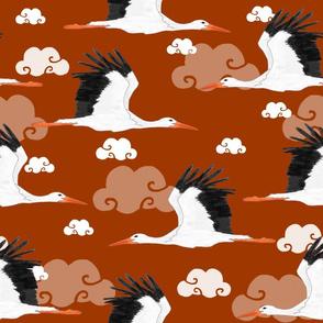 Stork Pattern Orange