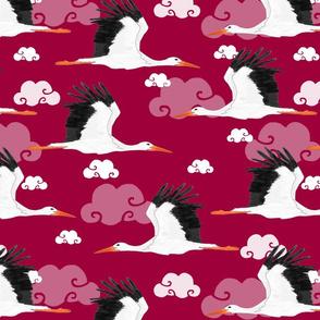 Stork Pattern Red
