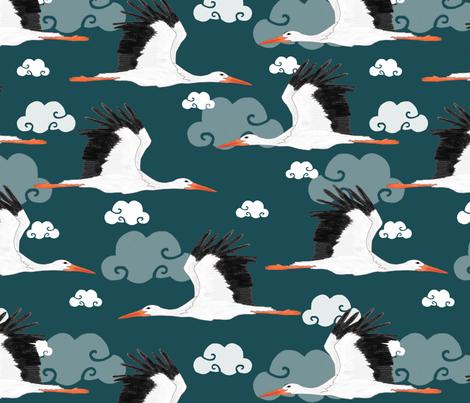 Stork Pattern Dark Blue fabric by lydia_meiying on Spoonflower - custom fabric