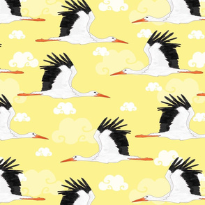 Stork Pattern Yellow