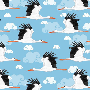 Stork Pattern Blue