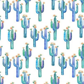 Little Watercolor Saguaro Cacti with Peach Flowers