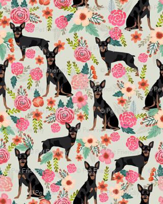 min pin florals miniature doberman pinscher fabric mint