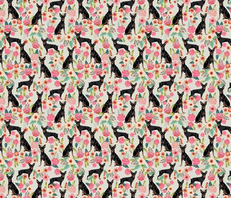 min pin florals miniature doberman pinscher fabric mint fabric by petfriendly on Spoonflower - custom fabric