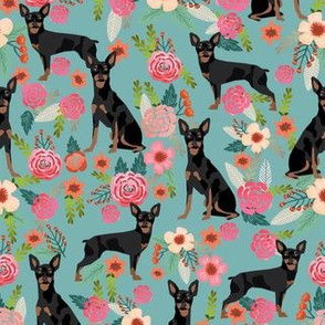 min pin florals miniature doberman pinscher fabric teal
