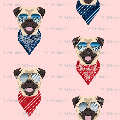 pug sunglasses summer beach dog breed fabric pink