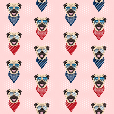 pug sunglasses summer beach dog breed fabric pink fabric by petfriendly on Spoonflower - custom fabric