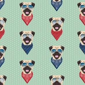 pug sunglasses summer beach dog breed fabric mint