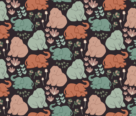 Playful Elly The Elephant fabric by paperondesign on Spoonflower - custom fabric