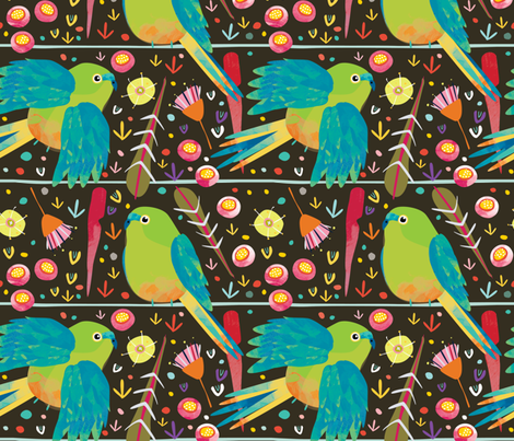 Orange-Bellied Parrot by Mount Vic and Me fabric by mountvicandme on Spoonflower - custom fabric